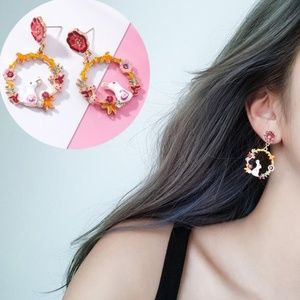 Jewelry - NEW rabbit flower hoop earrings